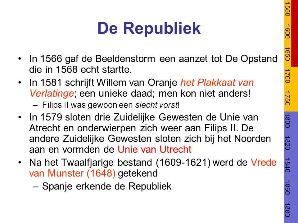 1550 1600. 1650. 1700. 1750. 1800. 1820. 1840. 1860. 1880. De Republiek.