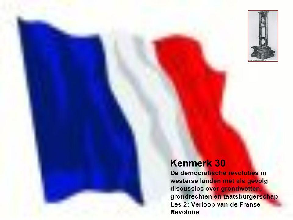 Kenmerk 30 De democratische revoluties in westerse landen met als gevolg discussies over grondwetten, grondrechten en taatsburgerschap Les 2: Verloop van de Franse Revolutie