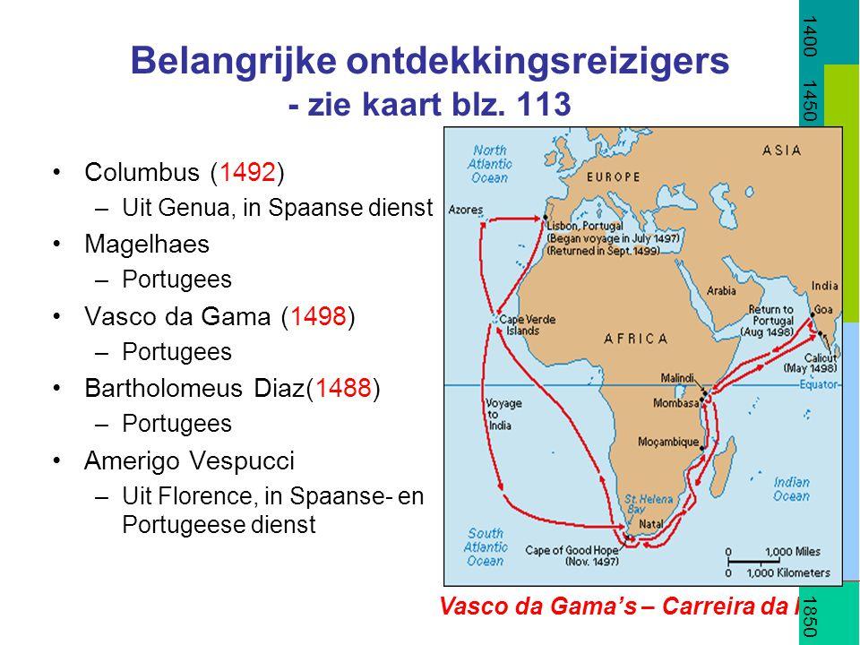 Belangrijke ontdekkingsreizigers - zie kaart blz. 113