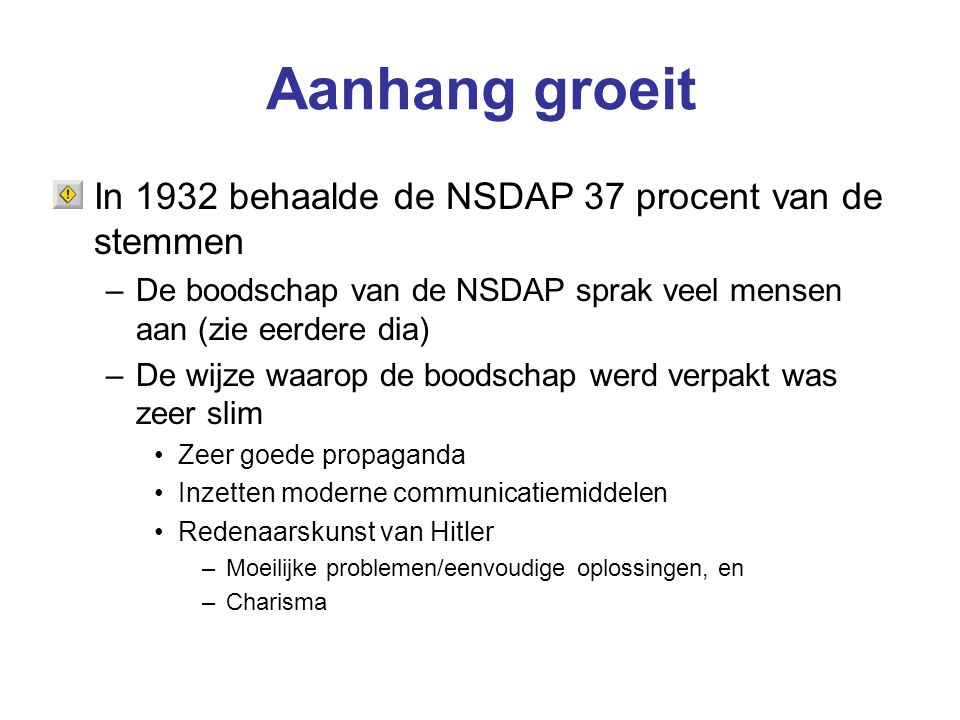 Aanhang groeit In 1932 behaalde de NSDAP 37 procent van de stemmen