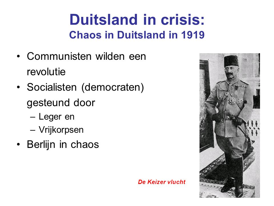 Duitsland in crisis: Chaos in Duitsland in 1919