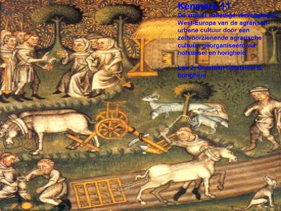 Kenmerk 11 De vrijwel volledige vervanging in West-Europa van de agrarisch-urbane cultuur door een zelfvoorzienende agrarische cultuur, georganiseerd via hofstelsel en horigheid Les 2: Ontstaan hofstelsel & horigheid