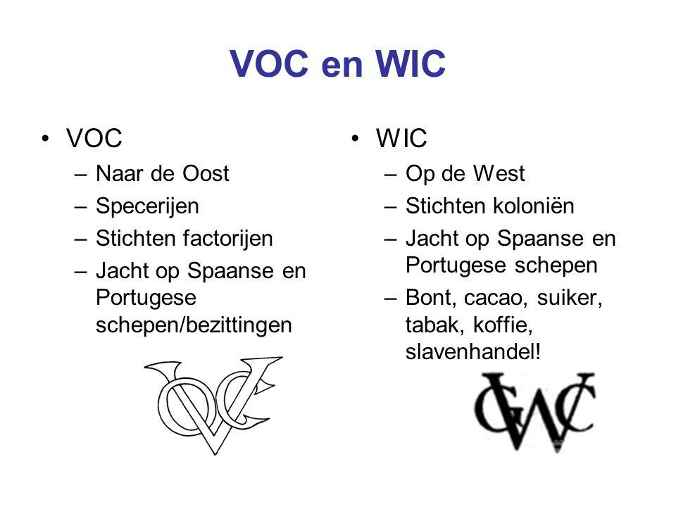 VOC en WIC VOC WIC Naar de Oost Specerijen Stichten factorijen