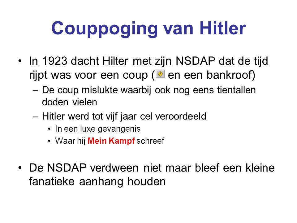 Couppoging van Hitler In 1923 dacht Hilter met zijn NSDAP dat de tijd rijpt was voor een coup ( en een bankroof)