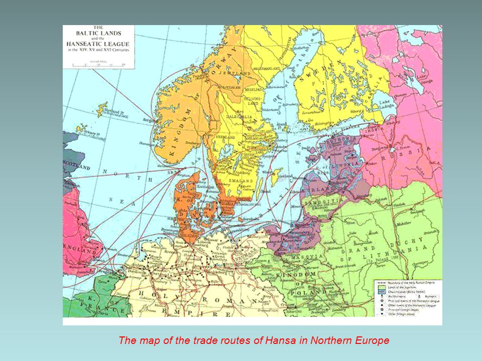 The map of the trade routes of Hansa in Northern Europe