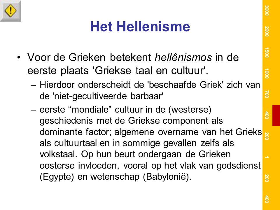 3000 2000. 1500. 1000. 700. 400. 200. 1. Het Hellenisme. Voor de Grieken betekent hellênismos in de eerste plaats Griekse taal en cultuur .