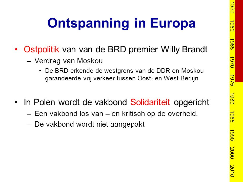 Ontspanning in Europa Ostpolitik van van de BRD premier Willy Brandt