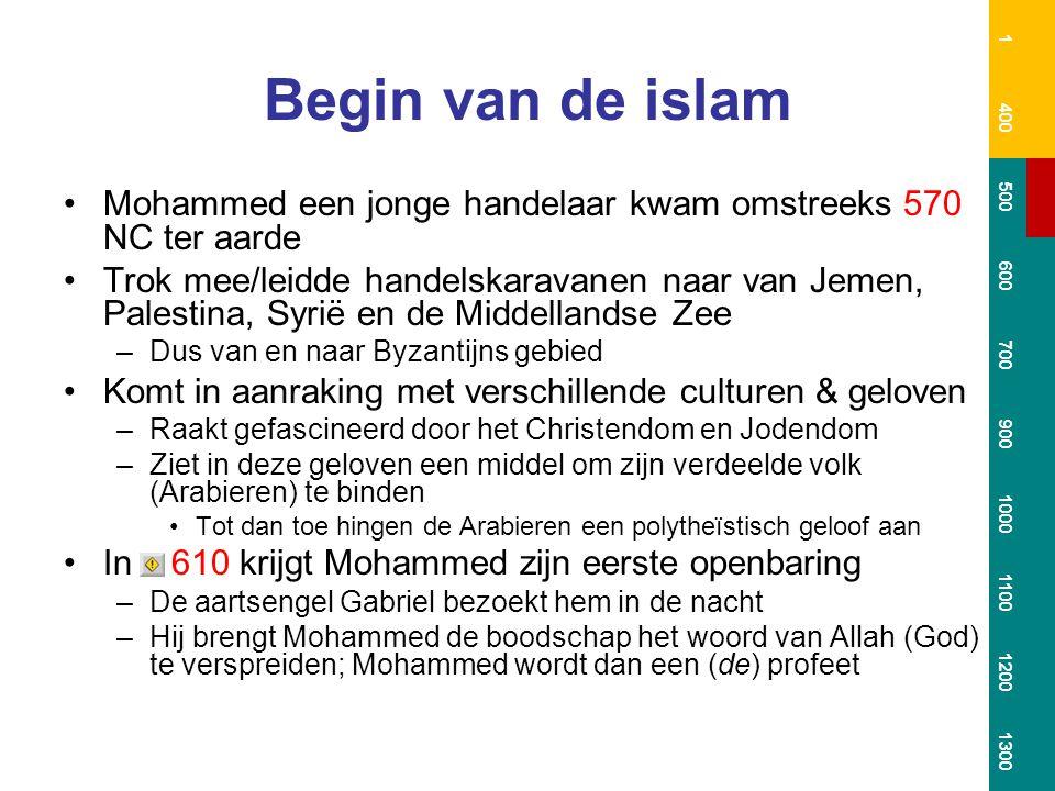 1 400. 500. 600. 700. 900. 1000. 1100. 1200. 1300. Begin van de islam. Mohammed een jonge handelaar kwam omstreeks 570 NC ter aarde.