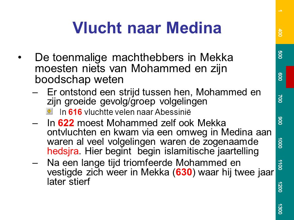 1 400. 500. 600. 700. 900. 1000. 1100. 1200. 1300. Vlucht naar Medina.