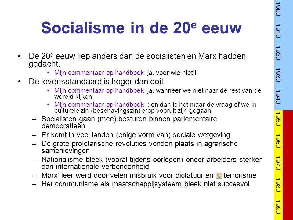 1900 1910. 1920. 1930. 1940. 1950. 1960. 1970. 1980. 1990. Socialisme in de 20e eeuw.