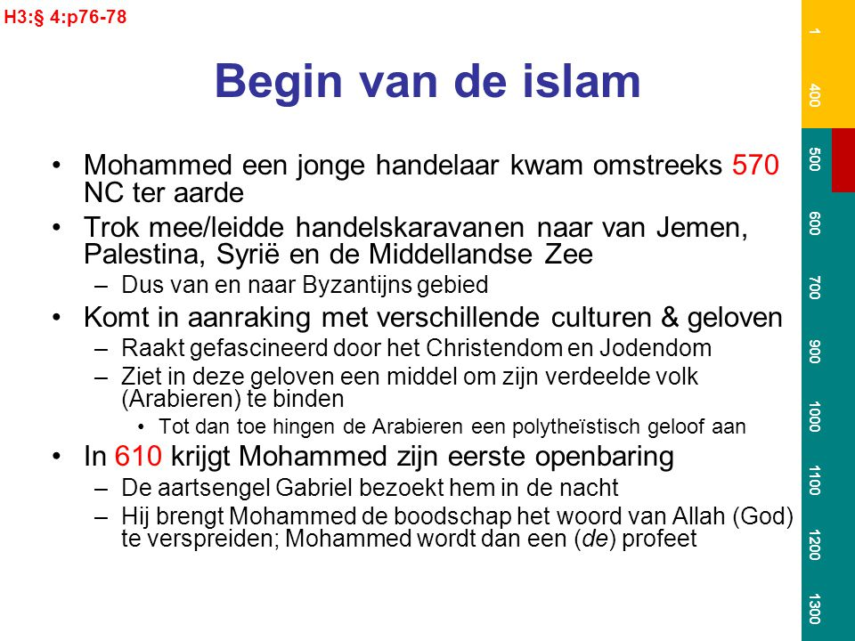 H3:§ 4:p76-78 1. 400. 500. 600. 700. 900. 1000. 1100. 1200. 1300. Begin van de islam.