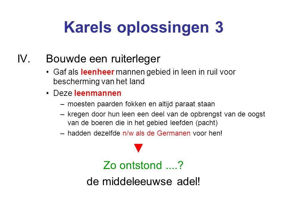 Karels oplossingen 3 ▼ IV. Bouwde een ruiterleger Zo ontstond ....
