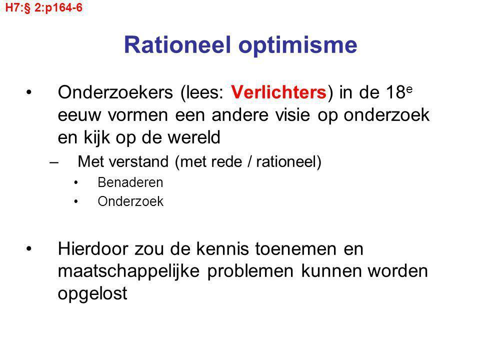 H7:§ 2:p164-6 Rationeel optimisme. Onderzoekers (lees: Verlichters) in de 18e eeuw vormen een andere visie op onderzoek en kijk op de wereld.