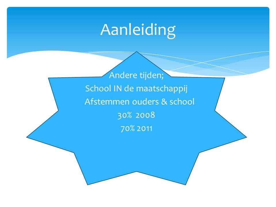 Aanleiding Andere tijden; School IN de maatschappij Afstemmen ouders & school 30% 2008 70% 2011