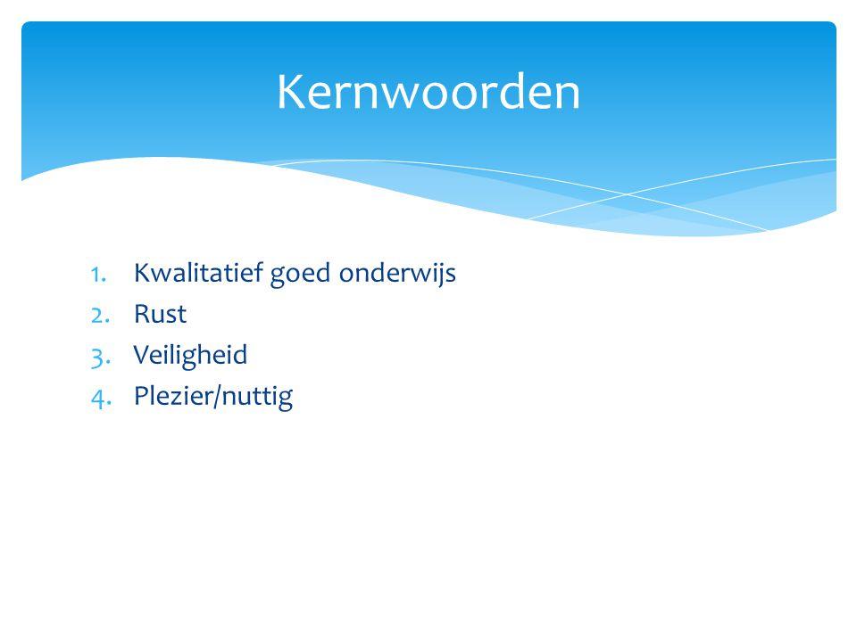 Kernwoorden Kwalitatief goed onderwijs Rust Veiligheid Plezier/nuttig