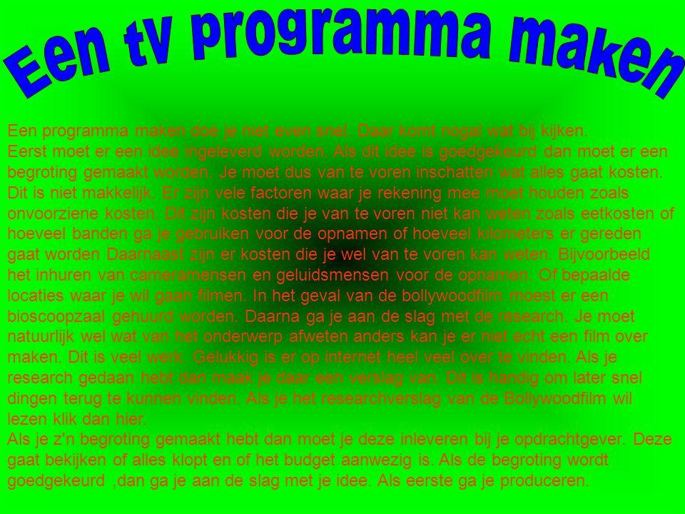 Een tv programma maken
