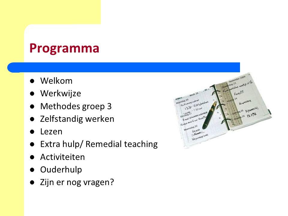 Programma Welkom Werkwijze Methodes groep 3 Zelfstandig werken Lezen