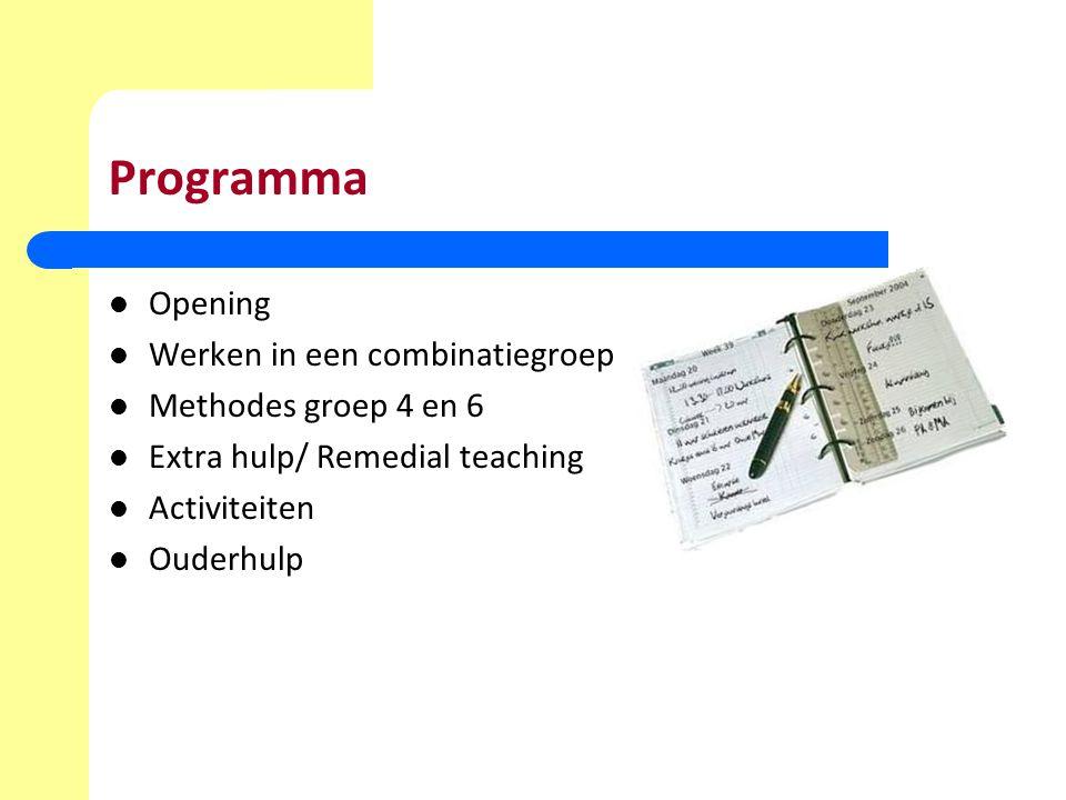 Programma Opening Werken in een combinatiegroep Methodes groep 4 en 6