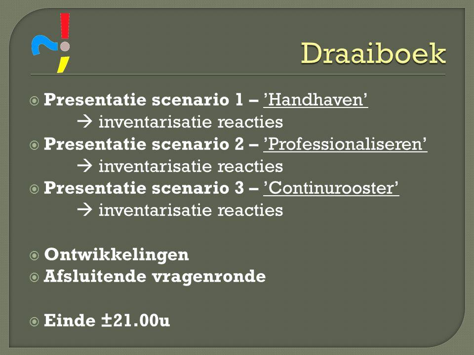 Draaiboek Presentatie scenario 1 – 'Handhaven'  inventarisatie reacties. Presentatie scenario 2 – 'Professionaliseren'