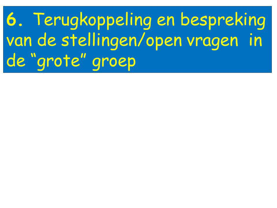 6. Terugkoppeling en bespreking van de stellingen/open vragen in de grote groep