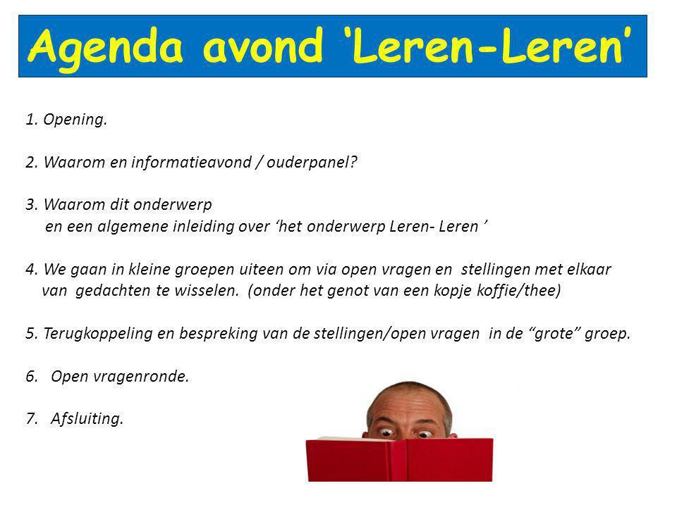 Agenda avond 'Leren-Leren'