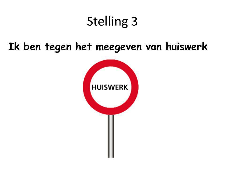 Stelling 3 Ik ben tegen het meegeven van huiswerk