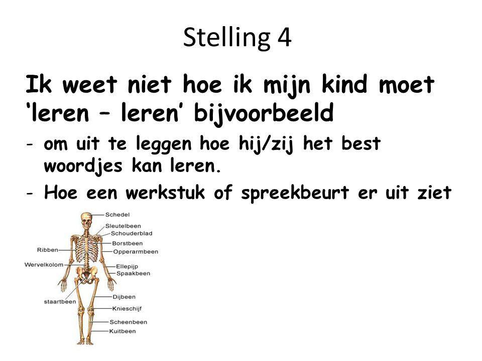 Stelling 4 Ik weet niet hoe ik mijn kind moet 'leren – leren' bijvoorbeeld. om uit te leggen hoe hij/zij het best woordjes kan leren.
