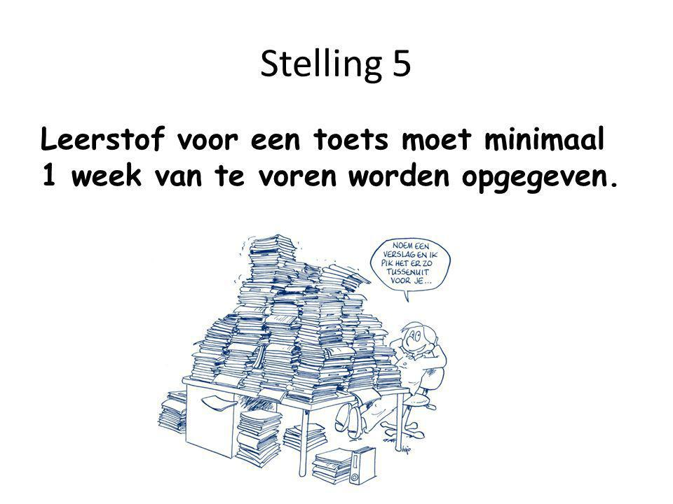Stelling 5 Leerstof voor een toets moet minimaal 1 week van te voren worden opgegeven.
