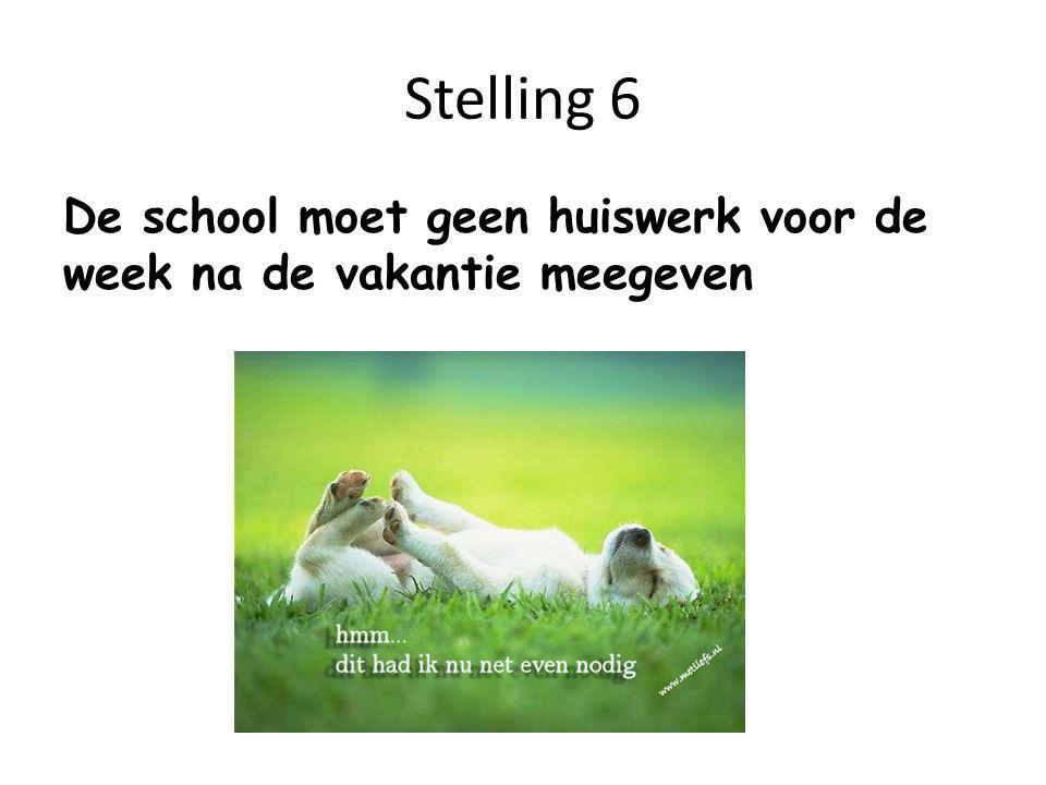 Stelling 6 De school moet geen huiswerk voor de week na de vakantie meegeven