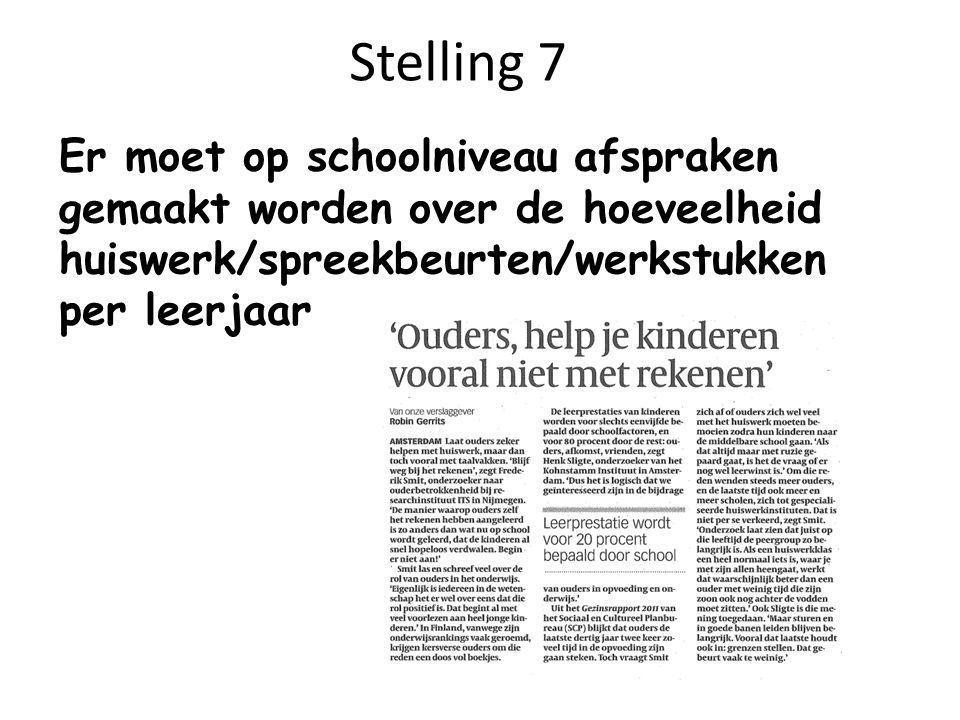 Stelling 7 Er moet op schoolniveau afspraken gemaakt worden over de hoeveelheid huiswerk/spreekbeurten/werkstukken per leerjaar.