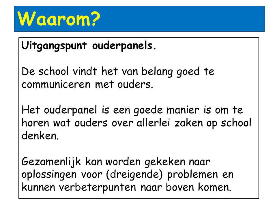 Waarom Uitgangspunt ouderpanels.