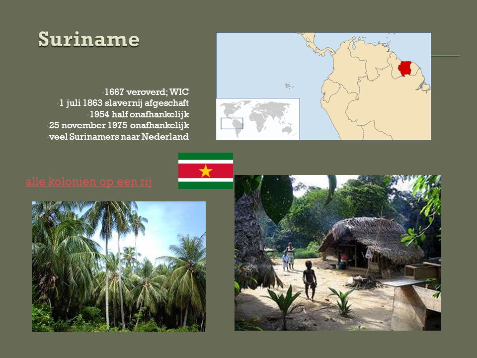 Suriname alle kolonien op een rij 1667 veroverd; WIC