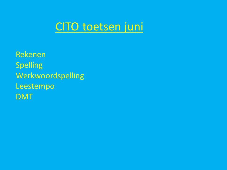 CITO toetsen juni Rekenen Spelling Werkwoordspelling Leestempo DMT