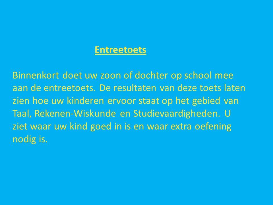 Entreetoets Binnenkort doet uw zoon of dochter op school mee aan de entreetoets.