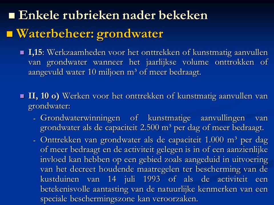 Enkele rubrieken nader bekeken Waterbeheer: grondwater