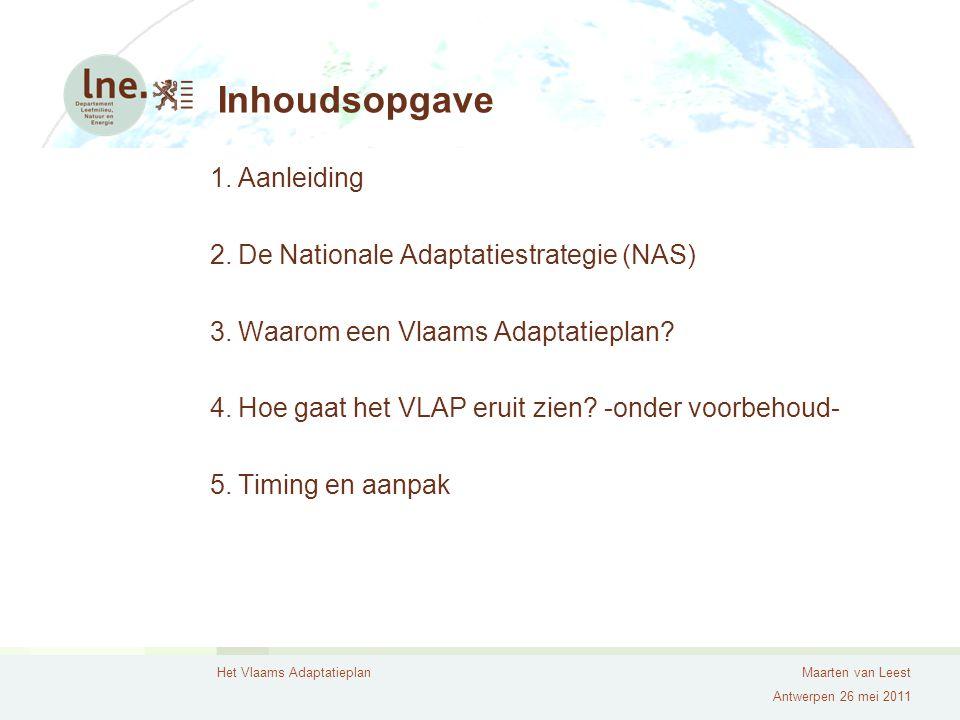 Inhoudsopgave Aanleiding De Nationale Adaptatiestrategie (NAS)