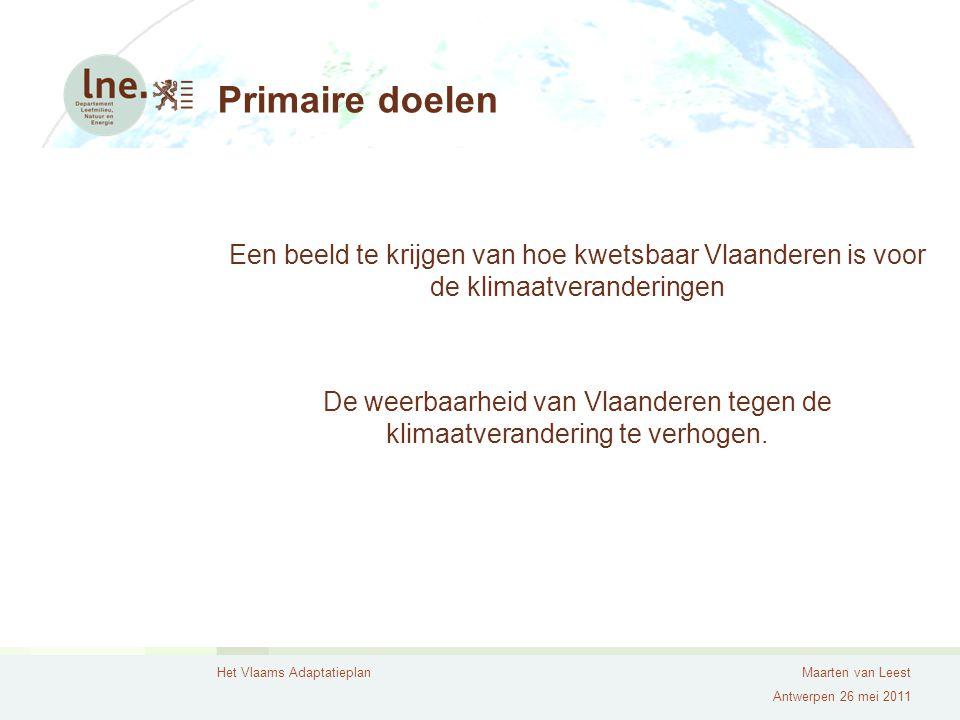 Primaire doelen Een beeld te krijgen van hoe kwetsbaar Vlaanderen is voor de klimaatveranderingen.