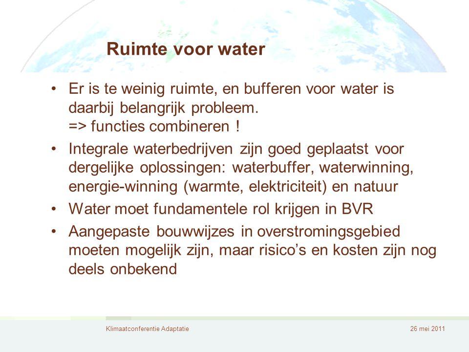 Ruimte voor water Er is te weinig ruimte, en bufferen voor water is daarbij belangrijk probleem. => functies combineren !