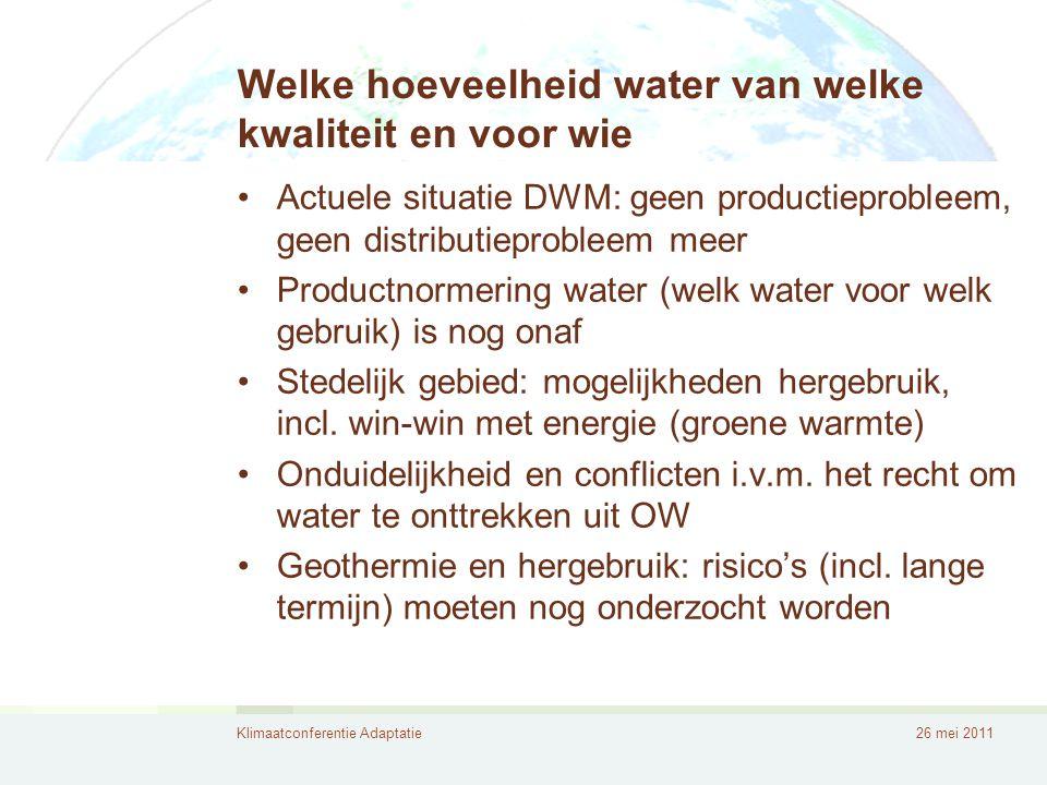 Welke hoeveelheid water van welke kwaliteit en voor wie