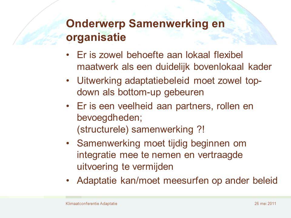 Onderwerp Samenwerking en organisatie
