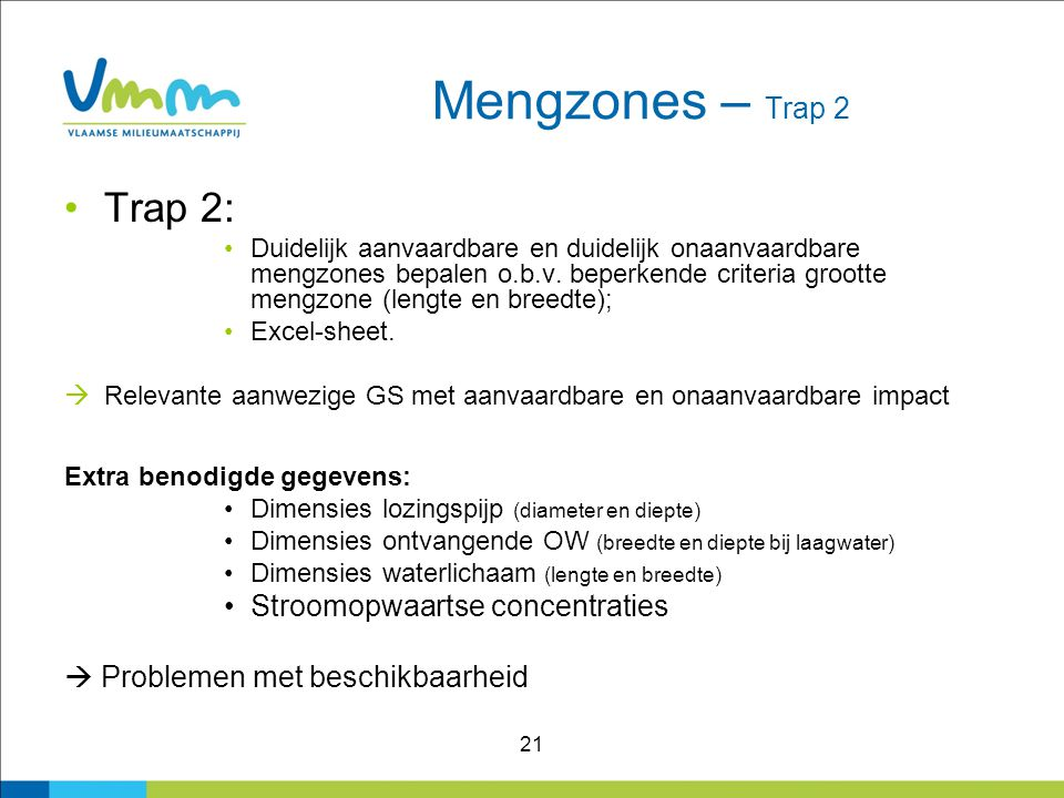 Mengzones – Trap 2 Trap 2: Stroomopwaartse concentraties