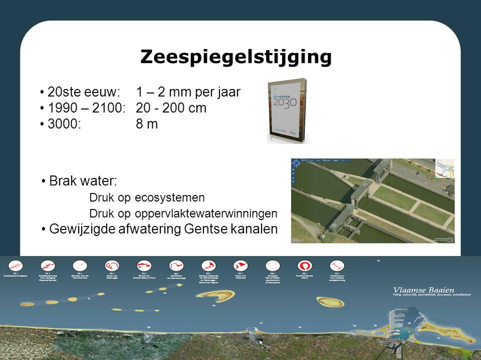Zeespiegelstijging 20ste eeuw: 1 – 2 mm per jaar