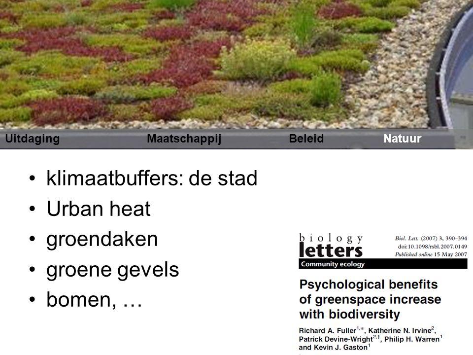 klimaatbuffers: de stad Urban heat groendaken groene gevels bomen, …