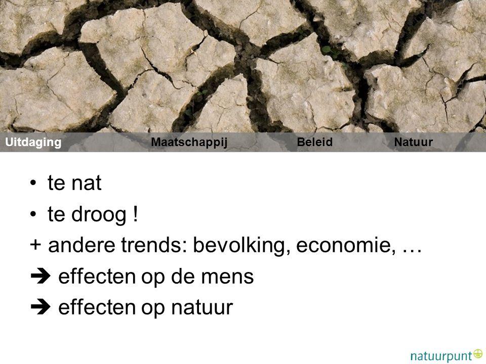 + andere trends: bevolking, economie, …  effecten op de mens