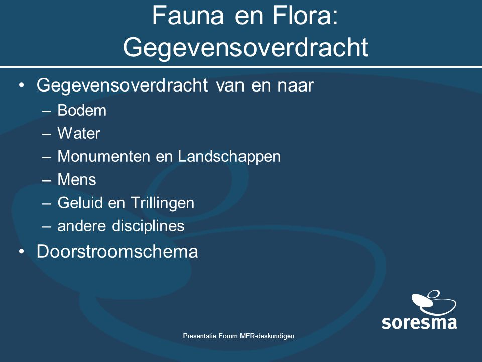 Fauna en Flora: Gegevensoverdracht