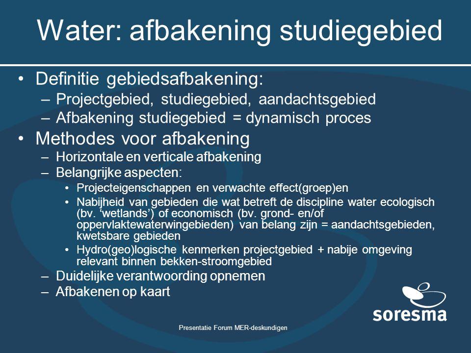 Water: afbakening studiegebied