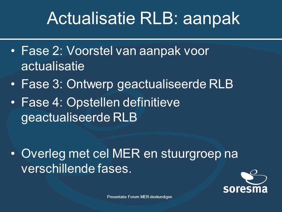Actualisatie RLB: aanpak