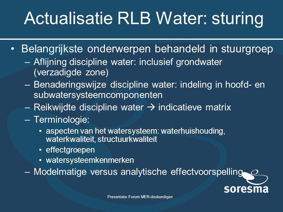 Actualisatie RLB Water: sturing
