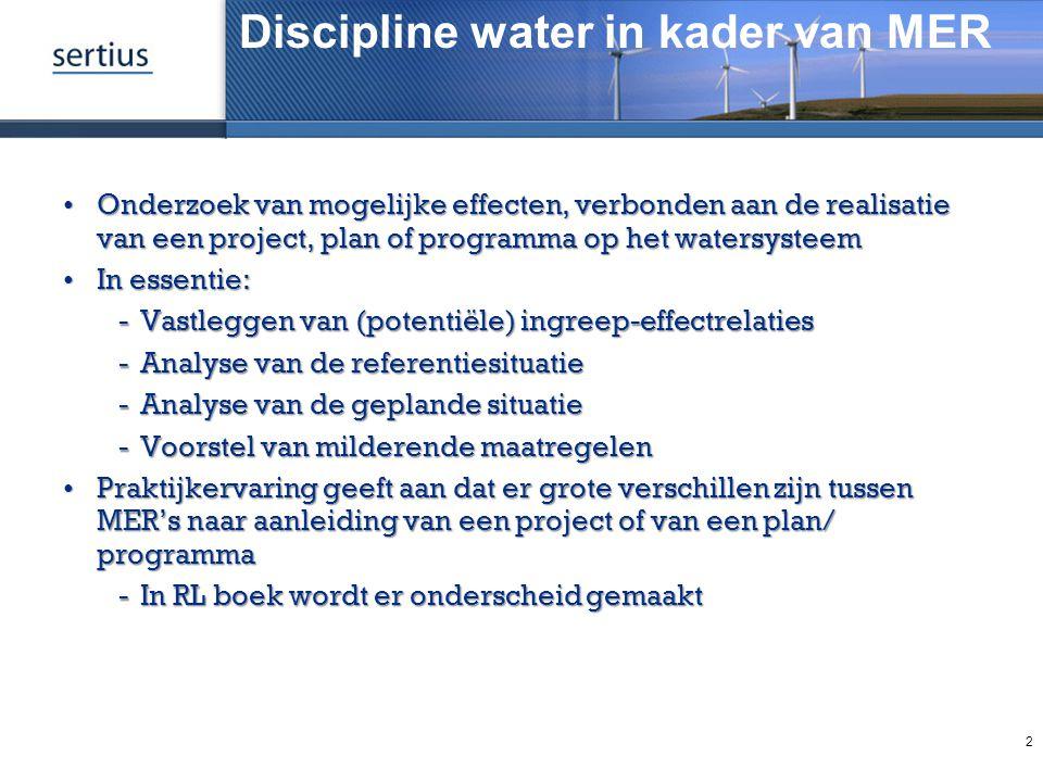 Discipline water in kader van MER