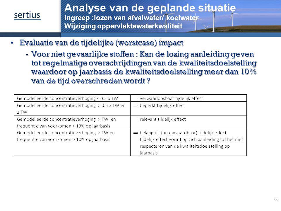 Analyse van de geplande situatie Ingreep :lozen van afvalwater/ koelwater Wijziging oppervlaktewaterkwaliteit
